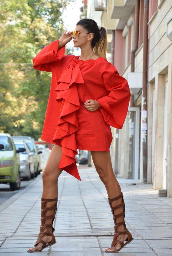 Womens Long Shirt Extravagant Red Tunic Elegant by SSDfashion