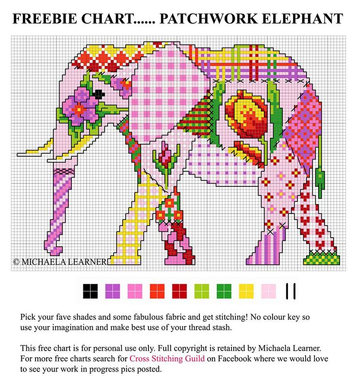 Lovely Patchwork elephant from the Cross Stitching Guild