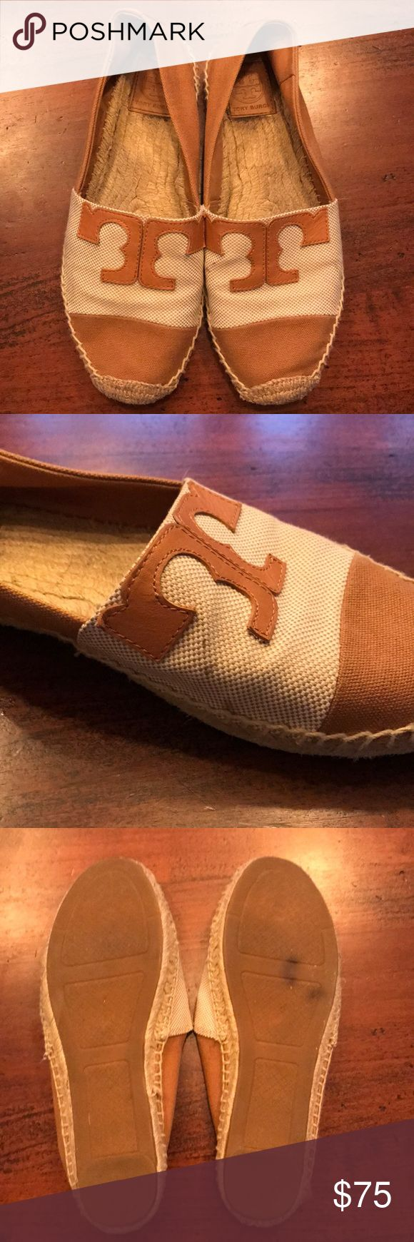 Tory Burch Espadrilles Used, but still a lot of life left! Cute, neutral espadrilles for summer! Sold out everywhere! Some scuffs but can hardly notice. All flaws shown on images. Ask questions before purchasing please. Firm on price. Tory Burch Shoes Espadrilles