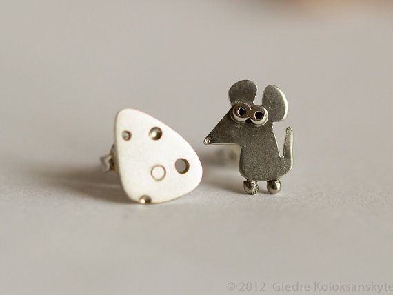Mouse and Cheese Stud Earrings Sterling Silver Mini by karramba, $24.00
