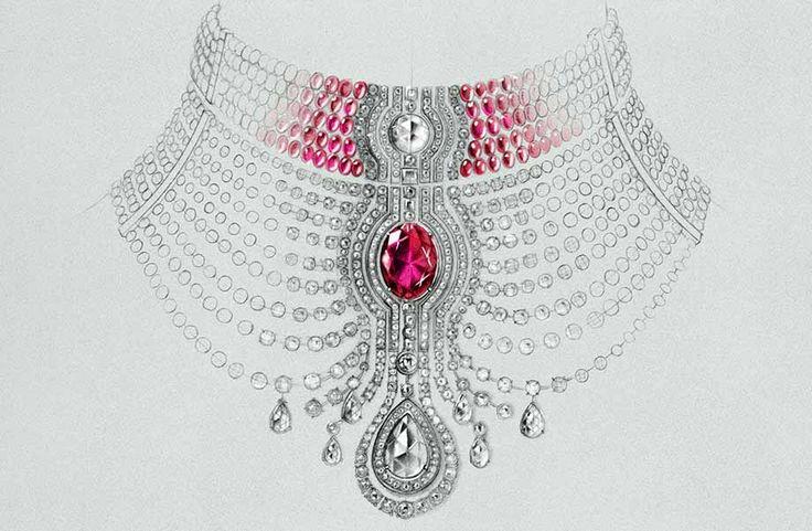 "illustration dessin bijou haute joaillerie Cartier Collier ""Reine Makeda""Florence Gendre #Cartier #Mode #Bijoux"