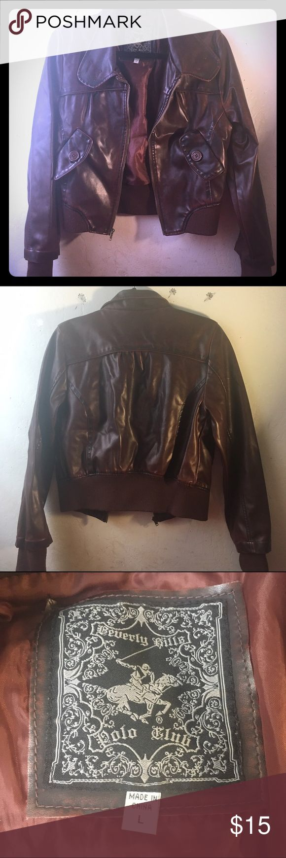 Brown Pleather/Faux Leather Jacket Size Large Leather