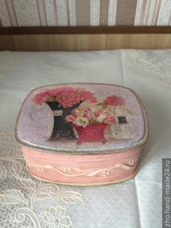 "Шкатулка ""Розовые цветы"", декупаж, Hand-Made24.ru"