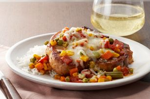 Saucy Italian Pork Chops recipe, I'm sure you could throw this in the crock pot sans cheese, add it when you get home.