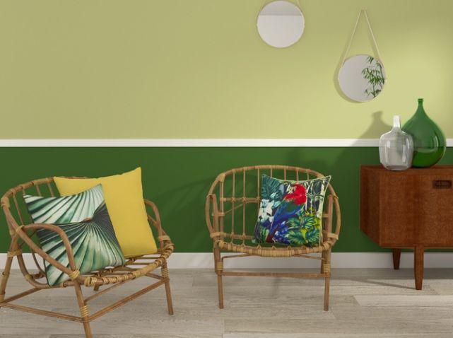 Salon style vintage avec peinture verte peinture paint pinterest vintage style salon et for Peinture vert amande