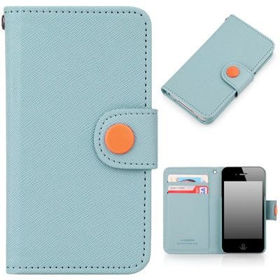 Button Wallet Case for Apple iPhone 4 and 4S - Sky Blue