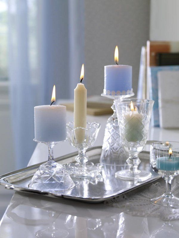 silver tray... check pretty glassware... check candles... check gotta do this, maybe add a few holiday touches