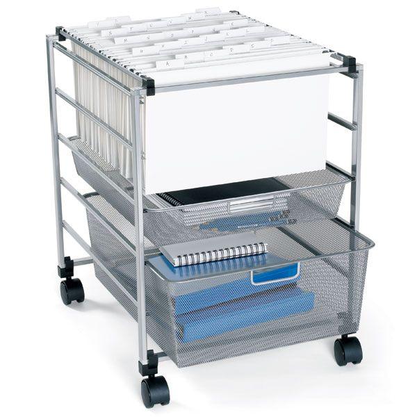 Platinum Elfa Mesh File Carts
