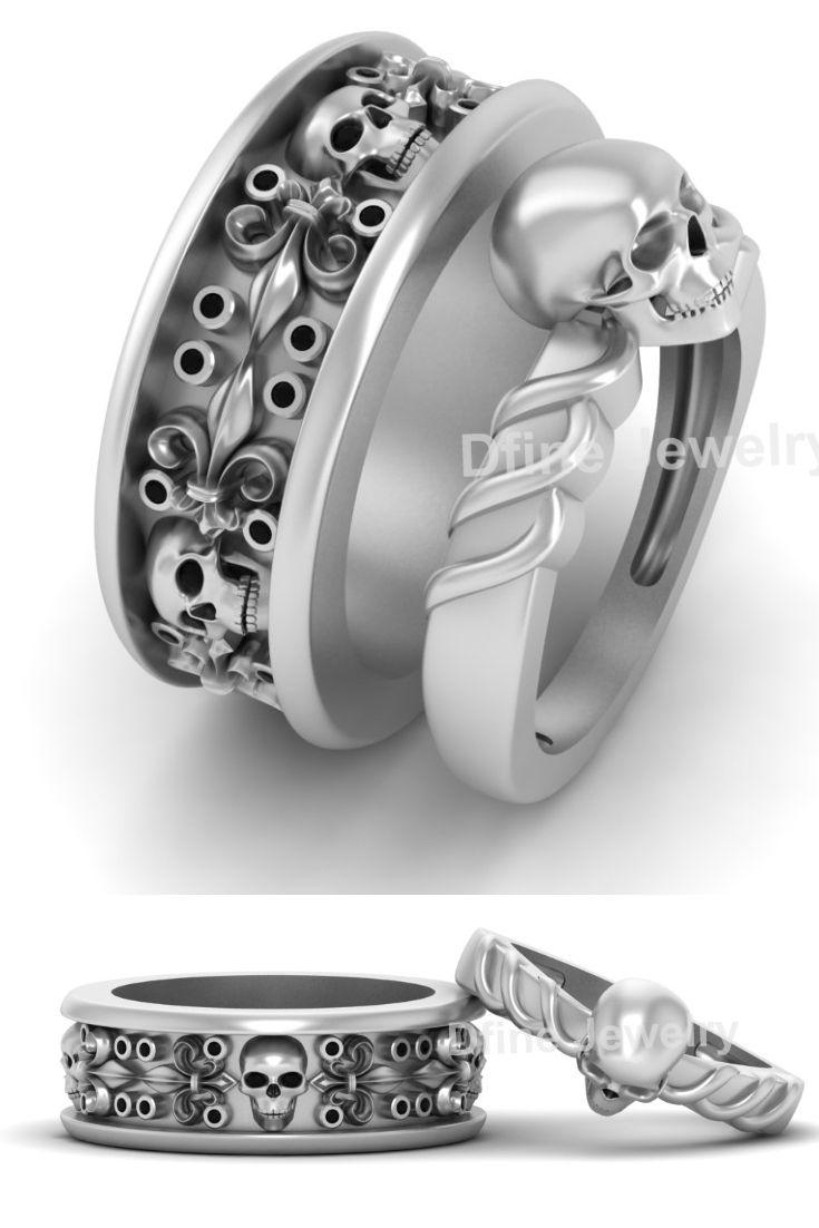 Matching Skull Wedding Ring Band Solid White Gold Skull Couple Rings Skull Engagement Ring Skull Wedding Ring Mens Skull Rings
