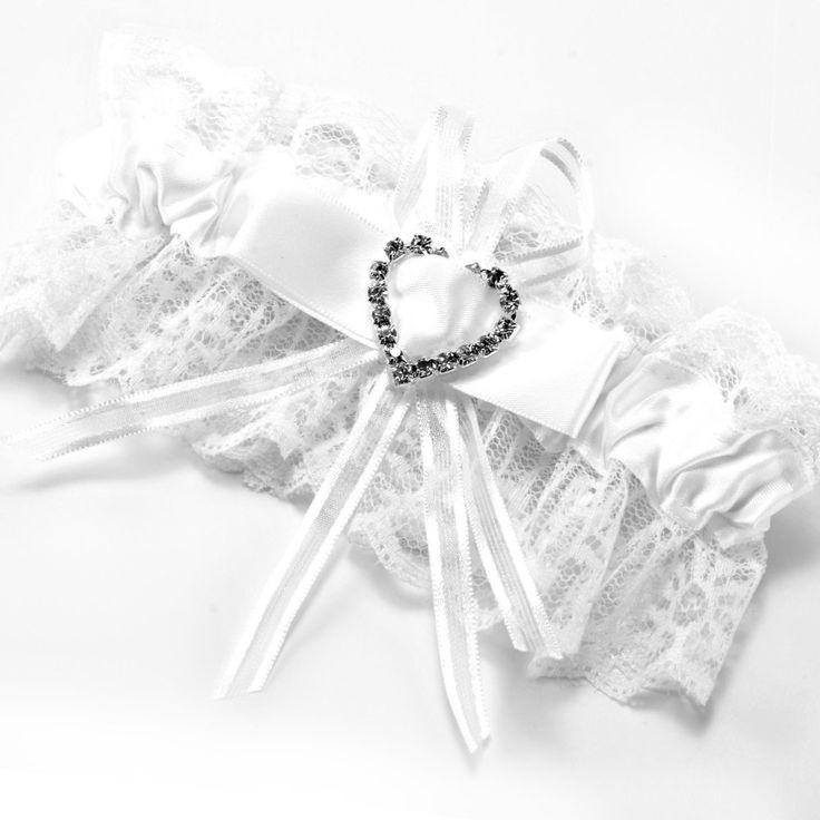 FS Hot Kousenband wit kant bruiloft accessoire geluk bruid Boog strass hart elastische tape #67