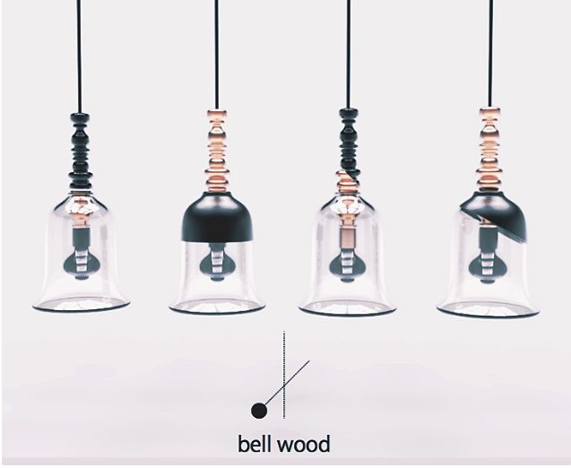 BELLWOOD A collection of glass and turned wood lamps to enhance the aesthetics and functionality of the material and provides a means of a new language in the field of lighting