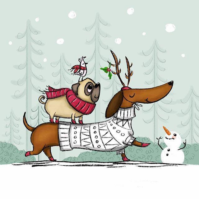 A jolly good day. Dog illustration.