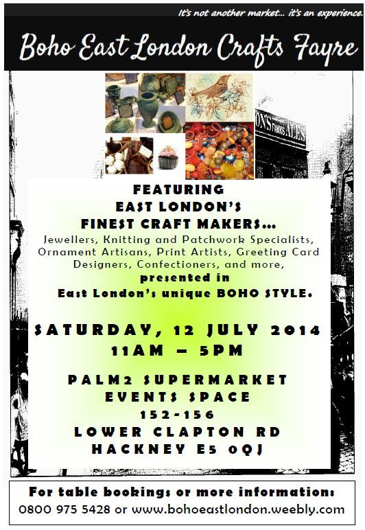 EXCITING NEW arts and crafts event coming to Hackney, East London on Saturday, 12 July 11am-5pm
