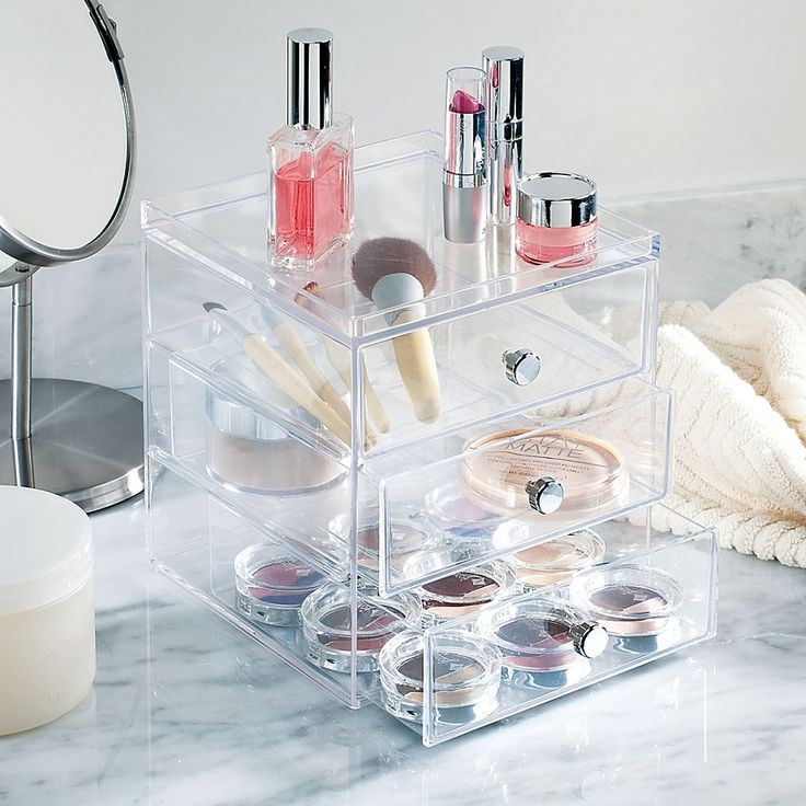 Large 3 Tier Acrylic Cosmetic Makeup Storage Cube Organizer with 3 Drawers Makeup Storage Drawers Uk, Vanity Organization, Storage Chest, Makeup Storage Containers, Organization Ideas, Drawer Unit, Drawer Organisers, Mini Parfum, Home