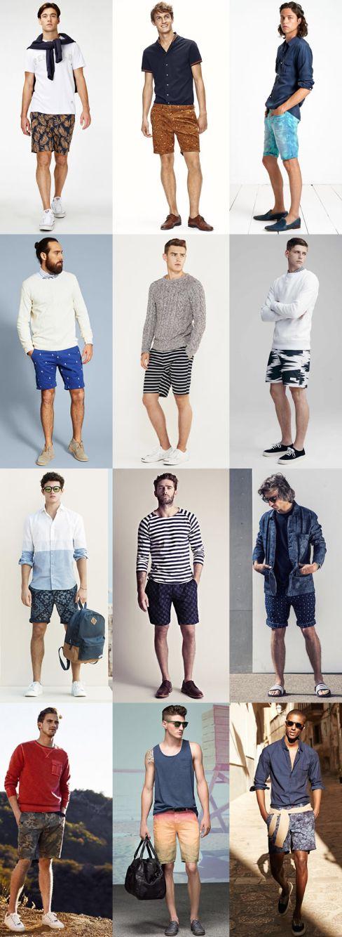 mens shorts slightly above the knee cuffed. guys around 6 feet tall.