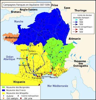 Clovis Ier . Les campagnes franques en Aquitaine entre 507 et 509: avec l'appui de l'empereur romain d'Orient Anastase, très inquiet des visées expansionnistes des Goths, Clovis s'attaque aux Wisigoths qui dominent alors la majeure partie de la péninsule ibérique et le S-O de la Gaule jusqu'à la Loire C'est la bataille de Vouillé près de Poitiers où Alaric II, roi Wisigoth, est tué par Clovis en combat singulier
