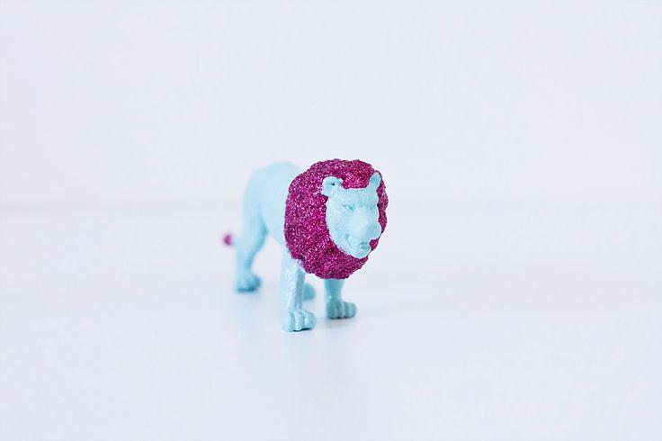 DIY-animaux-paillettes lion glitter