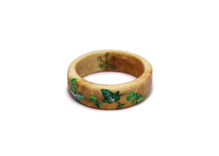 Hand painted ivy vine on wooden ring by professional artist. Limited edition miniature wearable art pieces.