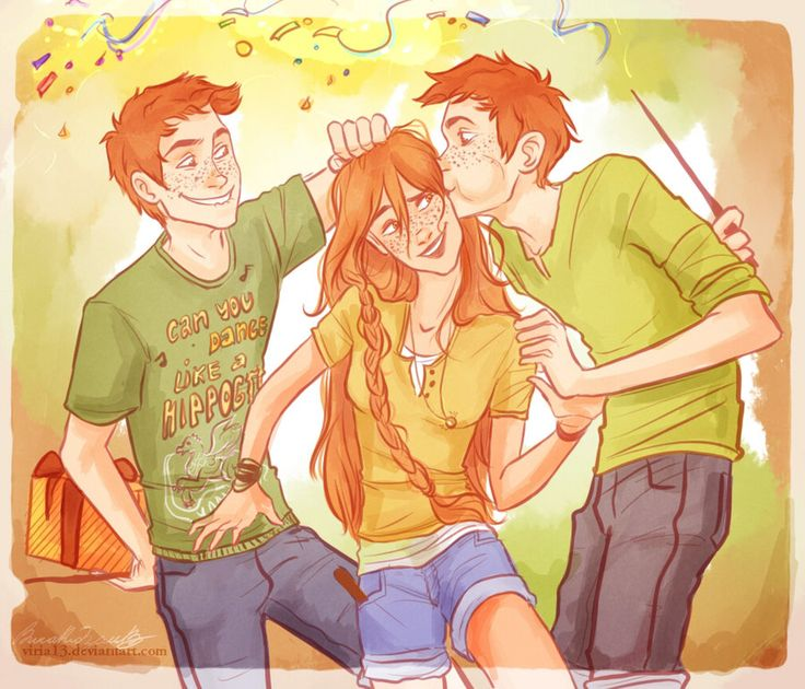Happy Birthday, little sis- Harry Potter, Ginny, Fred and George by viria13.deviantart.com on @deviantART