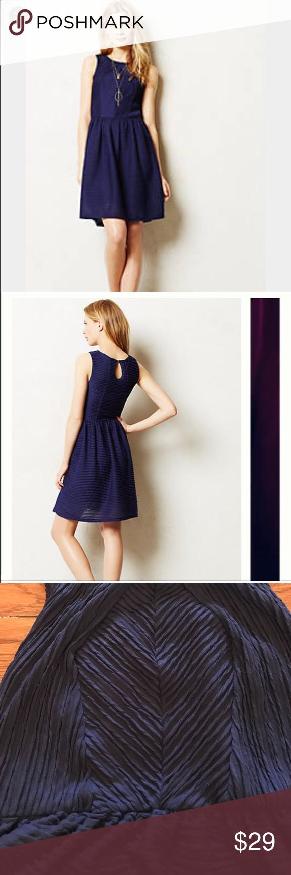 Anthropologie small, navy dress by Bordeaux Textured. Small petite, but could also fit a medium.  Good condition! Navy, stretchy material, bust is 16 inches from seam to seam.  Originally $120 Anthropologie Dresses