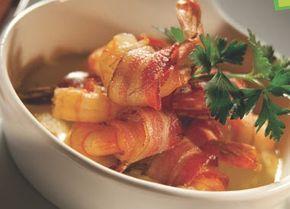 Esta receta con camarones queda muy rica…  Ingredientes: 1 paquete de tocineta 1 libra de camarones medianos, limpios y precocidos ...