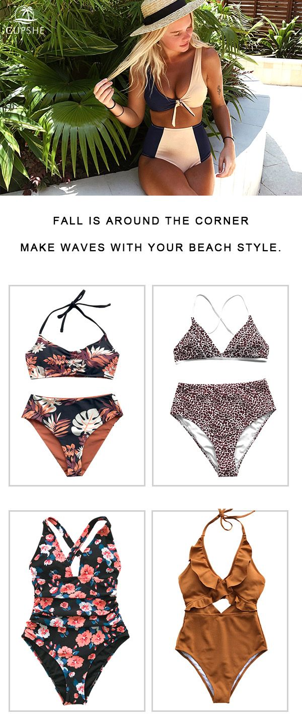 c3bbd113d93 Get ready for autumn on the beach or by the pool. Go for swimsuits ...
