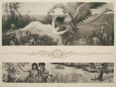 """Lithograph """"Allegorien"""" 1898 Max von Svabinsky"""