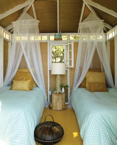 guest house..love the use of the bamboo mats...