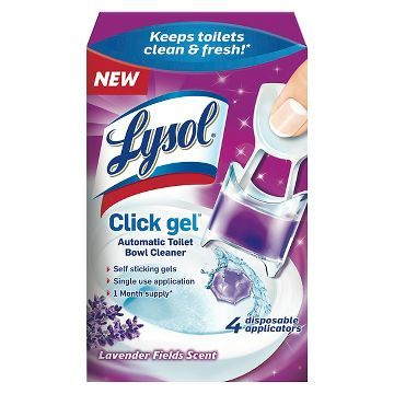 Lysol Automatic Toilet Bowl Lavender Scent Cleaning Click Gel - 4 Count