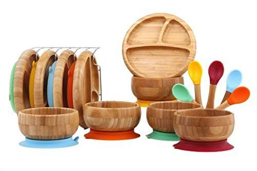 Baby Toddler Bamboo Spill Proof Stay Put Suction Divided Plates. No Plastic. BPA Fee & Eco-Friendly + BONUS E-BOOK. Great baby gift set & for Boating (Magenta)