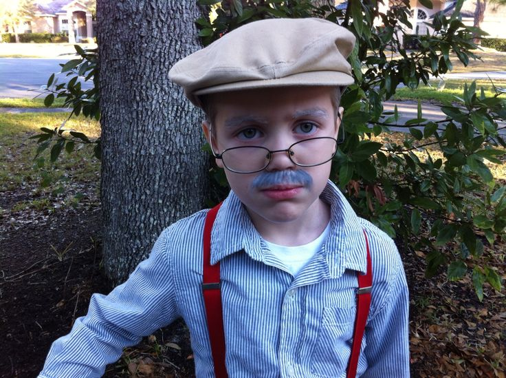 "Old man costume for ""100 days smarter"" celebration!  I think it turned out well and even better it cost us close to nothing!"