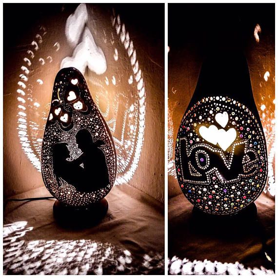 Valentine's Day Gourd lamp handcrafted Love gifts Turkish