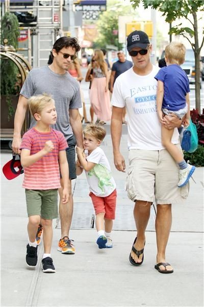 Gay couple: Matt Bomer & Simon Halls (with Henry, Kit and Walker)