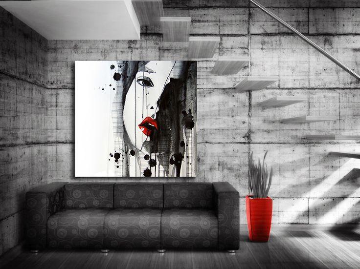 #Minimalistisk tavla -Cry. #Modern #tavla målad i minimalistisk stil. Tavlan är målad med #svart färg på #vit duk. Enda färgdetaljen som förekommer är #röda #läppar. #Stilrent och utrycksfull.