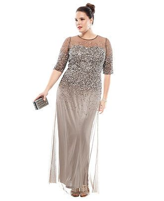 Mother of the Groom  Adrianna Papell Plus Size Dress, Elbow-Sleeve Beaded Gown - Plus Size Dresses - Plus Sizes - Macy's