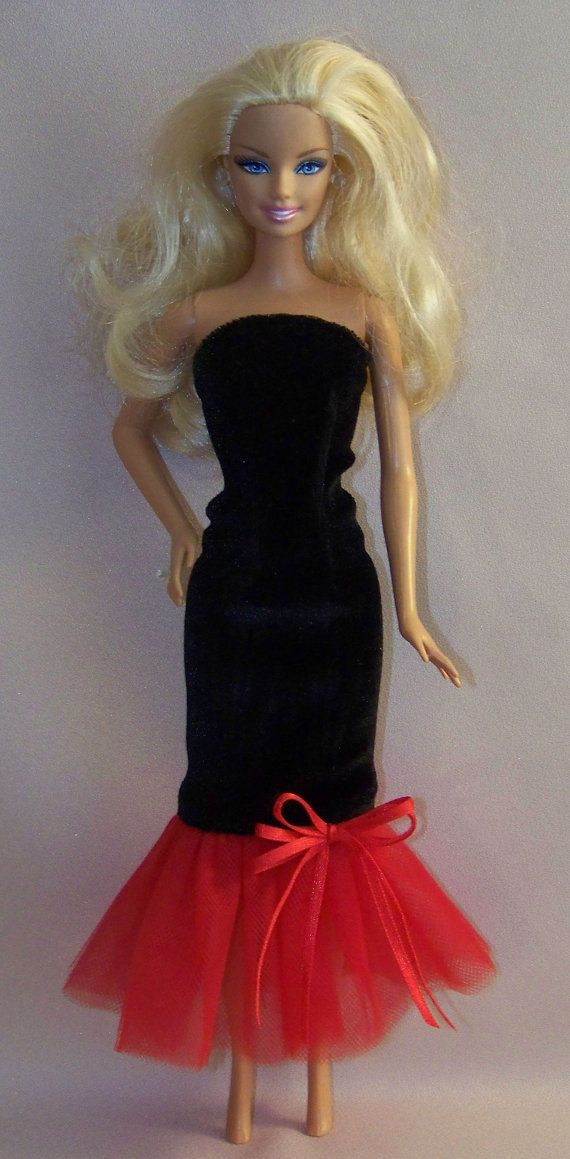 Handmade Barbie ClothesBlack Velvet Gown by PersnicketyGrandma, $8.00