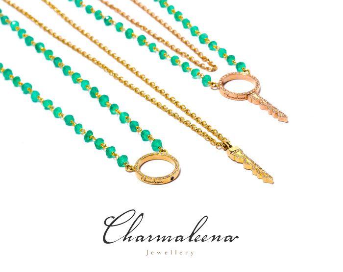 Key to my heart green onyx double chain necklace – Yellow Gold-.. #key  #diamond #necklace  #jewellery  #mycharmaleena #charmaleena #finejewellery  #RoseGold   #jeddah #riyadh #ksa #saudi #saudiarabia #Dubai #online #جدة  #السعودية  #دبي #الرياض