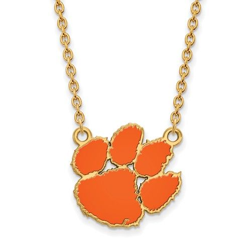 Gold+Plated+Clemson+University+Large+Enamel+Pendant+w/Necklace+GP045CU-18