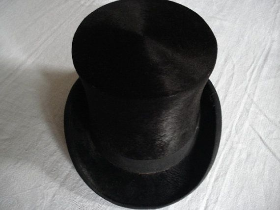 Antique French Mole Skin Top Hat Men's Accessory by FlorenceLace