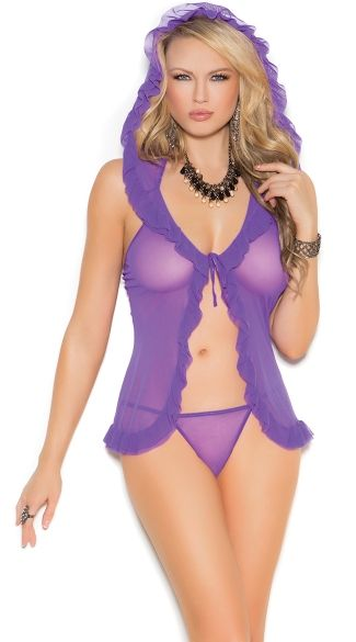 Purple Hooded Mesh Babydoll, Sexy babe