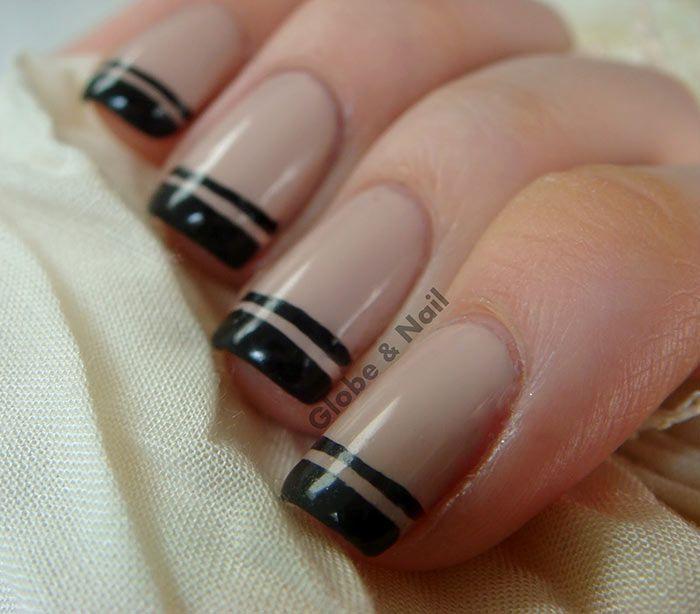 Unhas francesinhas com nude e preto