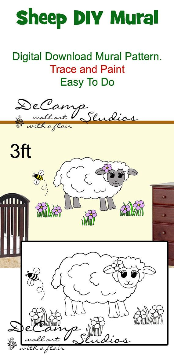 DIY Barnyard Sheep Wall Art Mural Pattern Digital By Decampstudios Part 57