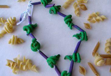 Painted Pasta Jewelry  Your child can turn a favorite food into a beautiful piece of jewelry.