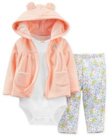 Carter's Infant Girls 3 Piece Fleece Orange Owl Hoodie Flower Leggings Shirt 12m