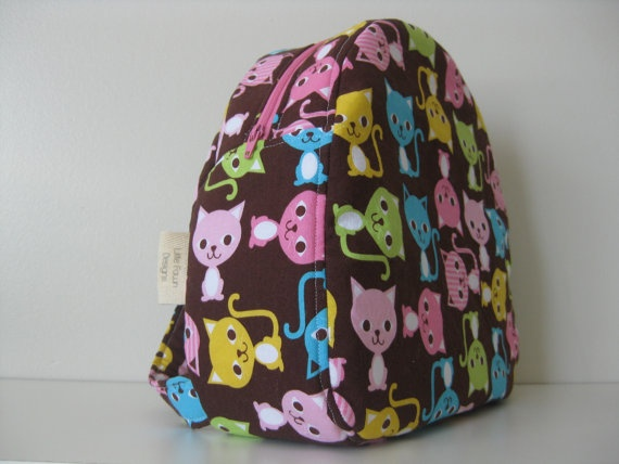 Spring kitten Toddler Backpack by LittleFawnDesigns on Etsy, $30.00  #toddlers #backpack #kids #school
