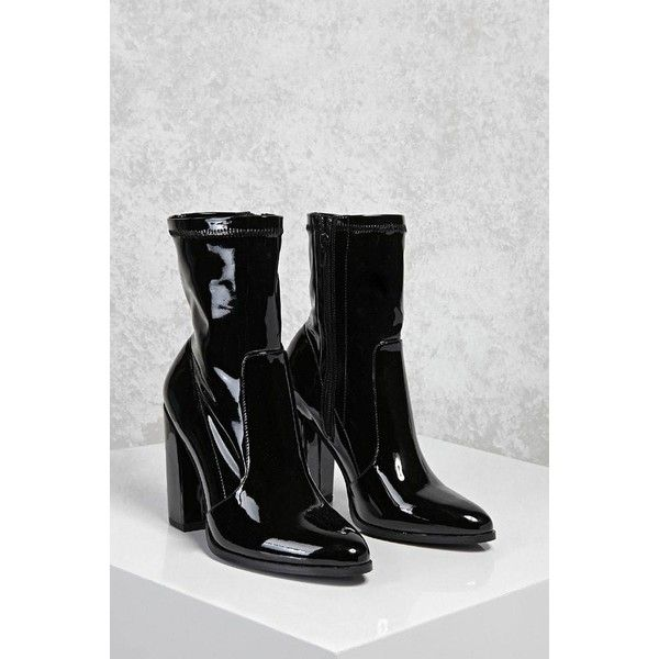 Forever21 Patent Faux Leather Sock Boots ($35) ❤ liked on Polyvore featuring shoes, boots, ankle boots, black, vegan ankle boots, chunky-heel ankle boots, black patent leather boots, black bootie boots and block heel ankle boots
