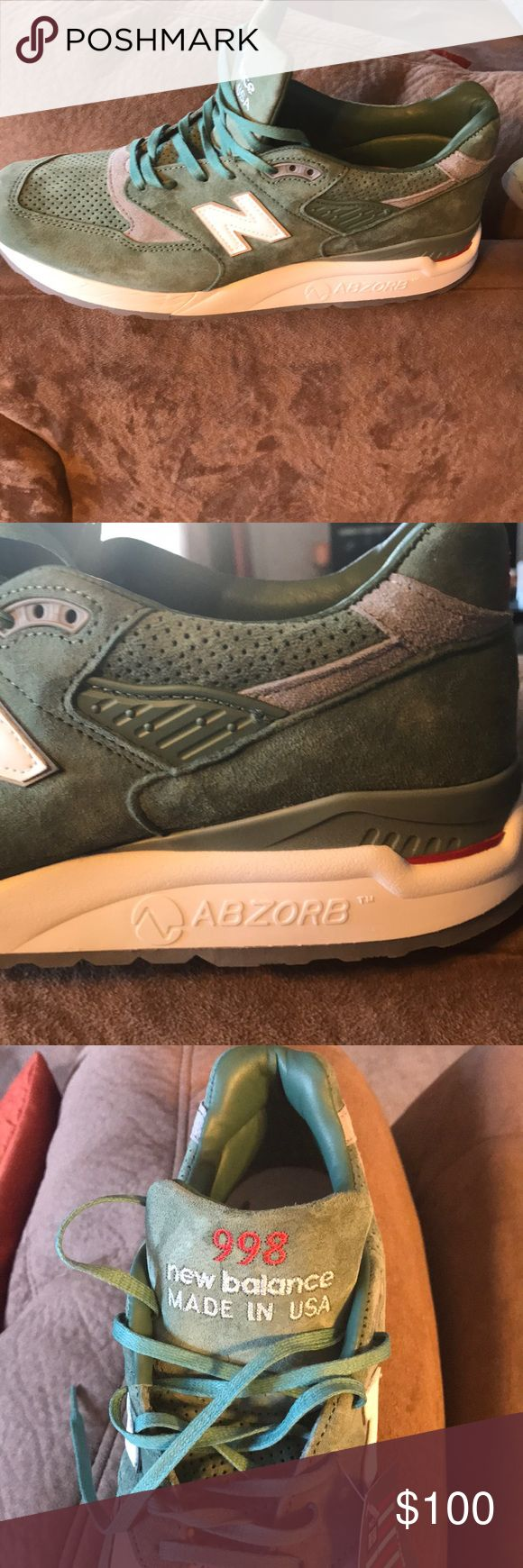 """998 New Balance """"made in USA"""" sneakers. 998 New Balance """"made in USA"""" ABZORB sneakers. Light green suede. I have sizes 10 and 1/2 and 11. Great quality sneakers. Comfortable and durable.$100 or best offer. New Balance Shoes Sneakers"""