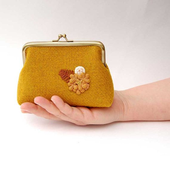 Harris tweed purse, ON SALE, mustard yellow clutch, tweed clutch, nature inspired purse, woodland clutch bag, unusual purse