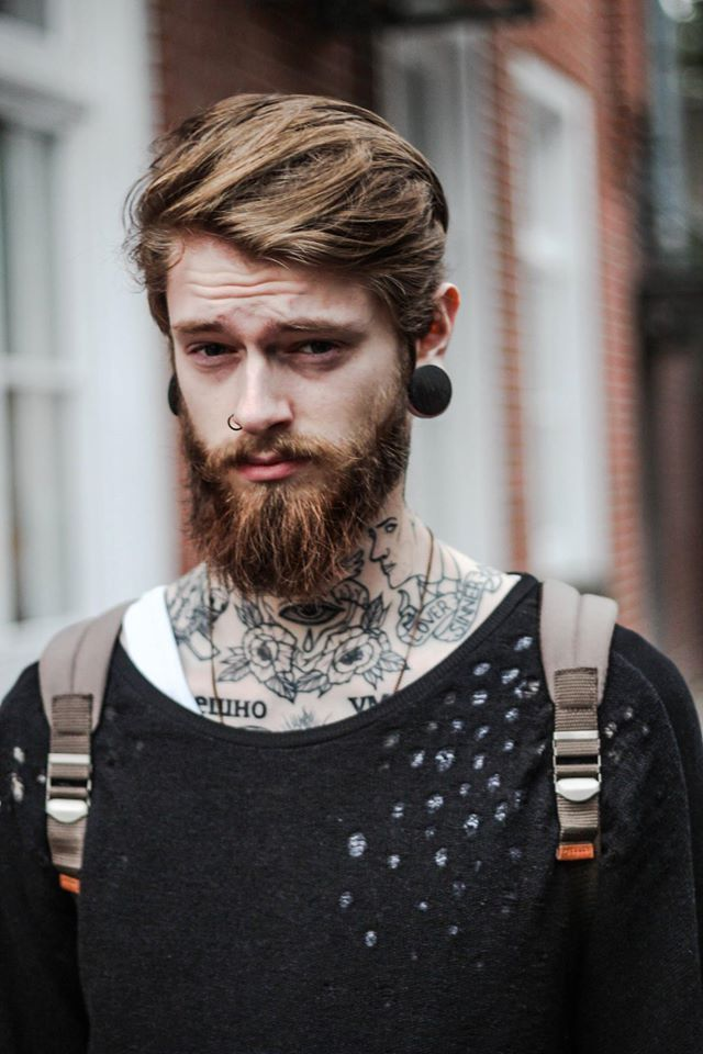 Stretch Ear Inked Boy Ink Tattoo Beard Nostril Piercing