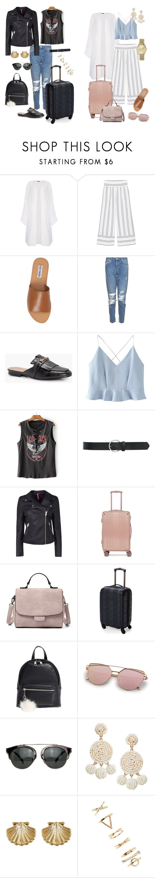 """Airport Fashion"" by edcs on Polyvore featuring Boohoo, MANGO, Steve Madden, Topshop, WithChic, M&Co, CalPak, Ben Sherman, BP. and Humble Chic"